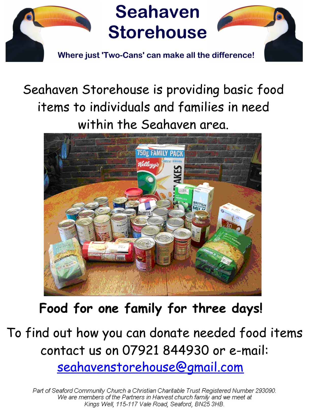 Seahaven Storehouse, operating in Seaford, Newhaven and Peacehaven, provides food items for individuals and families in need